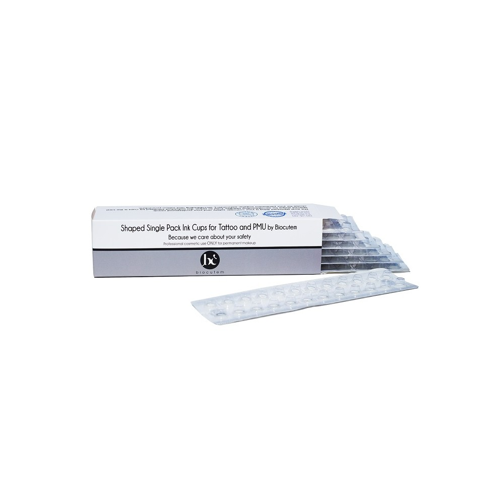 Individual sterilized pack ink cups for PMU & Tattoo by Biocutem.